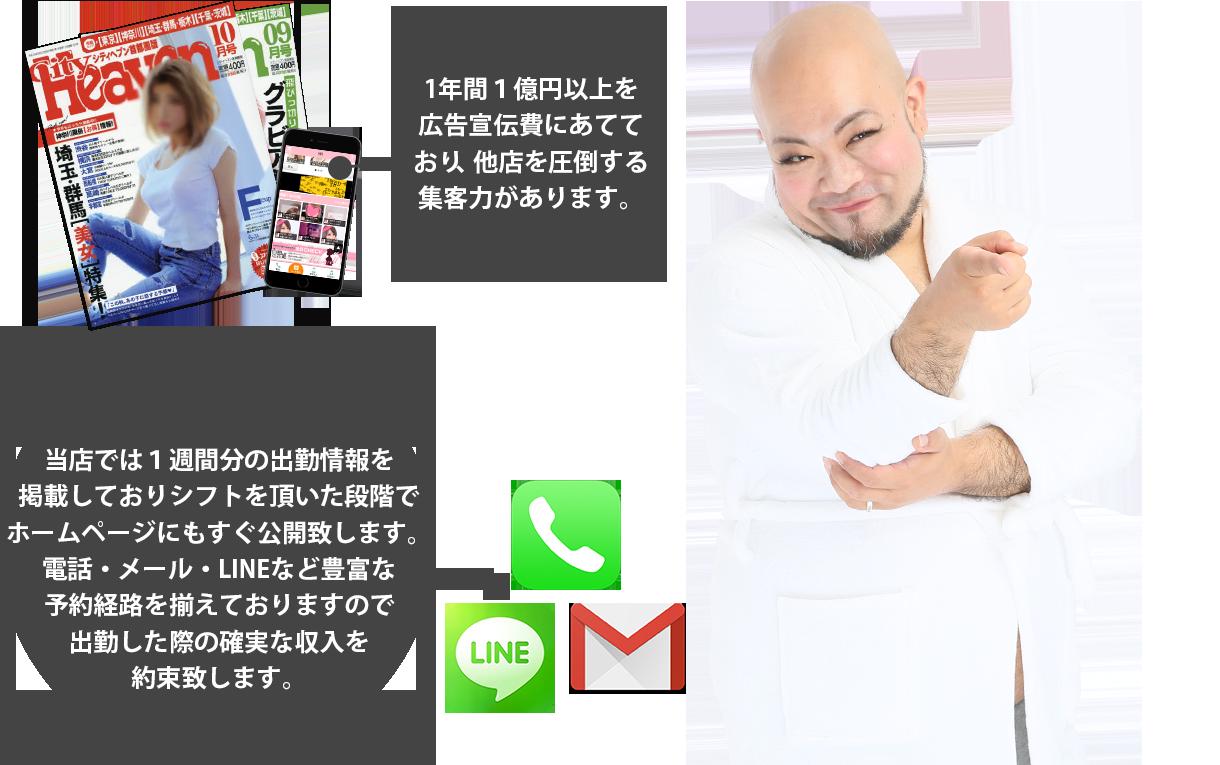 千葉・栄町のソープランド【アラカルト】求人!!1年間1億円以上を 広告宣伝費にあてて おり、他店を圧倒する 集客力があります。